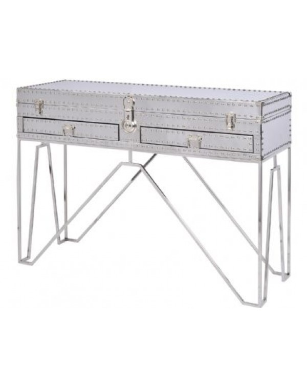 Duke Polished Sliver Steel Two Drawer Console Tab...
